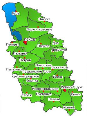 Административное деление. Карта Псковской области